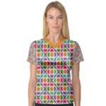 Modernist Floral Tiles Women s V-Neck Sport Mesh Tee