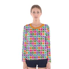 Modernist Floral Tiles Women s Long Sleeve Tee by DanaeStudio