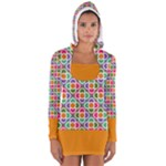 Modernist Floral Tiles Women s Long Sleeve Hooded T-shirt