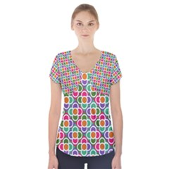 Modernist Floral Tiles Short Sleeve Front Detail Top by DanaeStudio