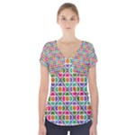 Modernist Floral Tiles Short Sleeve Front Detail Top