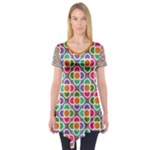 Modernist Floral Tiles Short Sleeve Tunic