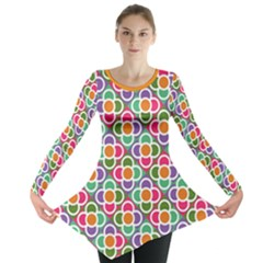 Modernist Floral Tiles Long Sleeve Tunic  by DanaeStudio