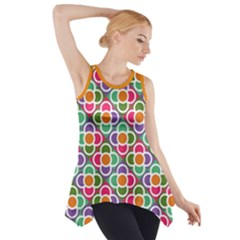 Modernist Floral Tiles Side Drop Tank Tunic