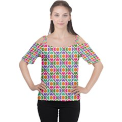 Modernist Floral Tiles Women s Cutout Shoulder Tee by DanaeStudio