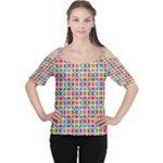 Modernist Floral Tiles Women s Cutout Shoulder Tee