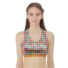 Modernist Floral Tiles Sports Bra With Border by DanaeStudio