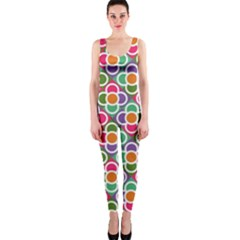 Modernist Floral Tiles OnePiece Catsuit