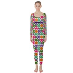 Modernist Floral Tiles Long Sleeve Catsuit by DanaeStudio