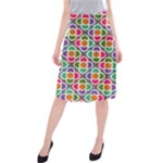 Modernist Floral Tiles Midi Beach Skirt