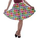 Modernist Floral Tiles A-line Skater Skirt