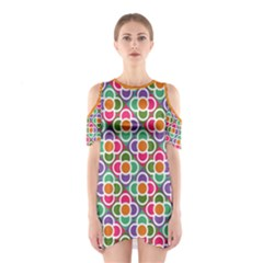 Modernist Floral Tiles Women s Cutout Shoulder One Piece by DanaeStudio