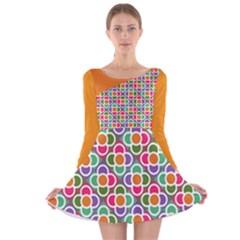 Modernist Floral Tiles Long Sleeve Velvet Skater Dress by DanaeStudio