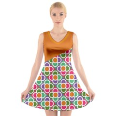 Asymmetric Orange Modernist Floral Tiles V Neck Sleeveless Dress by DanaeStudio