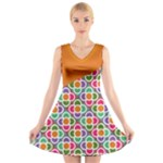 Asymmetric Orange Modernist Floral Tiles V-Neck Sleeveless Dress