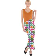 Asymmetric Orange Modernist Floral Tiles Fitted Maxi Dress
