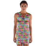 Modernist Floral Tiles Wrap Front Bodycon Dress