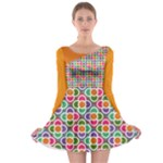 Asymmetric Orange Modernist Floral Tiles Long Sleeve Skater Dress