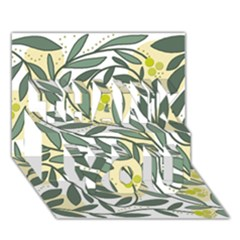 Green Floral Pattern Thank You 3d Greeting Card (7x5) by Valentinaart