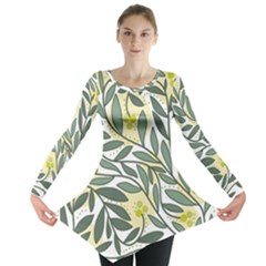 Green floral pattern Long Sleeve Tunic  by Valentinaart