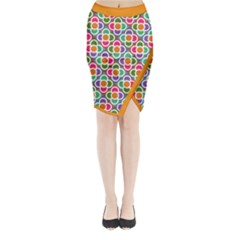 Modernist Floral Tiles Midi Wrap Pencil Skirt by DanaeStudio