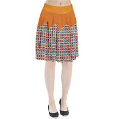 Asymmetric Orange Modernist Floral Tiles Pleated Skirt by DanaeStudio