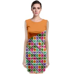 Asymmetric Orange Modernist Floral Tiles Classic Sleeveless Midi Dress by DanaeStudio