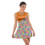 Asymmetric Orange Modernist Floral Tiles Cotton Racerback Dress