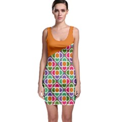 Asymmetric Orange Modernist Floral Tiles Bodycon Dress by DanaeStudio