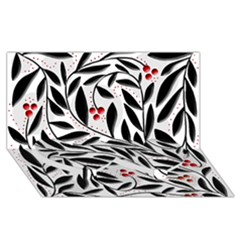 Red, Black And White Elegant Pattern Twin Heart Bottom 3d Greeting Card (8x4) by Valentinaart