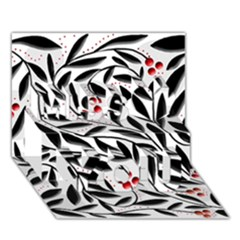 Red, Black And White Elegant Pattern Miss You 3d Greeting Card (7x5) by Valentinaart