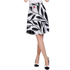 Red, Black And White Elegant Pattern A Line Skirt by Valentinaart