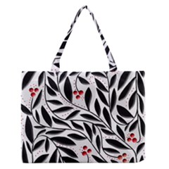 Red, Black And White Elegant Pattern Medium Zipper Tote Bag by Valentinaart