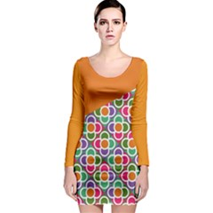 Asymmetric Orange Modernist Floral Tiles Long Sleeve Bodycon Dress by DanaeStudio