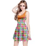 Asymmetric Orange Modernist Floral Tiles Reversible Sleeveless Dress