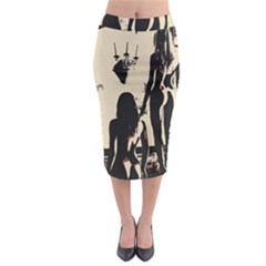 30 Sexy Conte Sketch Girls In Room Naked Ass Butts Shadows Midi Pencil Skirt by PeterReiss