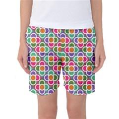 Modernist Floral Tiles Women s Basketball Shorts by DanaeStudio