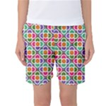 Modernist Floral Tiles Women s Basketball Shorts