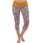 Modernist Floral Tiles Capri Yoga Leggings