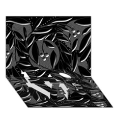 Black Floral Design Love Bottom 3d Greeting Card (7x5) by Valentinaart