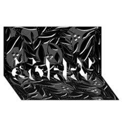 Black Floral Design Sorry 3d Greeting Card (8x4)