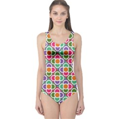 Modernist Floral Tiles One Piece Swimsuit by DanaeStudio