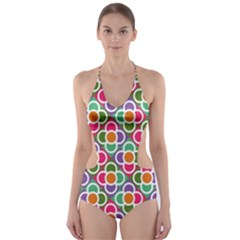 Modernist Floral Tiles Cut Out One Piece Swimsuit by DanaeStudio