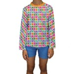 Modernist Floral Tiles Kid s Long Sleeve Swimwear