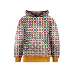 Modernist Floral Tiles Kids  Pullover Hoodie by DanaeStudio