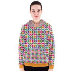 Modernist Floral Tiles Women s Zipper Hoodie by DanaeStudio