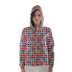 Modernist Floral Tiles Hooded Wind Breaker (women) by DanaeStudio