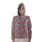 Modernist Floral Tiles Hooded Wind Breaker (Women)