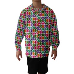 Modernist Floral Tiles Hooded Wind Breaker (kids) by DanaeStudio