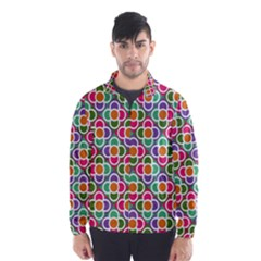 Modernist Floral Tiles Wind Breaker (men) by DanaeStudio